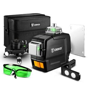 Niveau Laser 360 Rotatif Autonivelant 12 Lignes Vert 3D Bricolage Telecommande