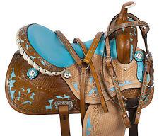 14 LEATHER TURQUOISE WESTERN BARREL RACING PLEASURE HORSE SADDLE TACK