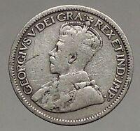 1914 CANADA - Original Antique Silver 10 Cents Coin under King GEORGE V i56827