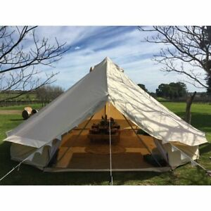 6M Large Luxury Canvas Tent Camping Bell Tent Yurt Tent Luxury w/ Electric Hole