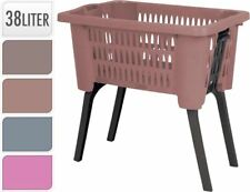 Brown Laundry Hamper Basket With Folding Legs Storage Washing Bin Reduce Bending