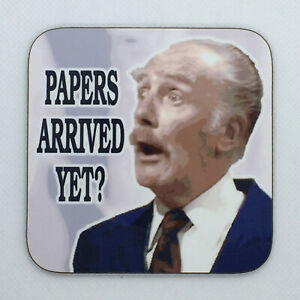 PAPERS ARRIVED YET? - Fawlty Towers Coaster / Bar Mat - Sturdy, Gloss, Original