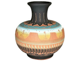 Victoria Tsosie- Brown Navajo  Vase Hand-Etched painted Mesa AmphoraPottery