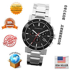 100% Authentic Burberry Black Dial Chronograph Stainless Steel Mens Watch BU9380