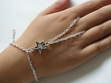 Silver Tone Hand Harness, Bracelet & Ring Armour, Slave Chain, Small Star Charm
