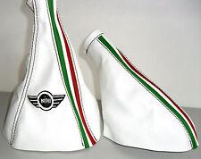 Mini Klassische Abzugshaube Schalt- und Brems echtes Leder Weiß mit dreifarbig