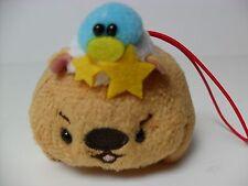 Amuse Brown Wombat On-On w/ Baby Bird 8cm Plush Strap Kawaii Anime Sanrio San-X