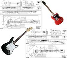 5 PIANI COSTRUTTIVI guitar plans - fender strato tele jazz gibson les paul sg