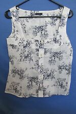 NEW WITH TAGS WOMEN'S EARL JEAN VINTAGE PRINT IVORY & BLUE TANK TOP SIZE LARGE