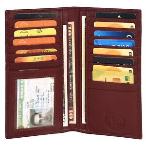 Leatherboss Genuine Leather Men Long Wallet Pockets ID Card Clutch Bifold Purse