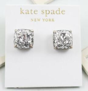 Kate Spade Silver Glitter Small Square Stud  Earrings