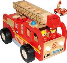Camion de Pompier en bois avec Lot 2 Figurines des pompiers,