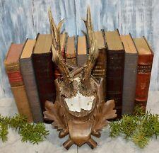 Antique German Black Forest Carved Wood Leaves Deer Antler Mount Plaque Shield