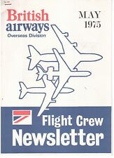 BRITISH AIRWAYS OVERSEAS DIVISION FLIGHT CREW NEWSLETTER MAY 1975 CONCORDE