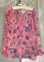 NEW Plus Size 1X Pink Floral Blouse Shirt Ruffle Peasant Top