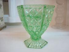 CROWN CRYSTAL GREEN DEPRESSION GLASS VASE WITH FLOWER FROG c1931