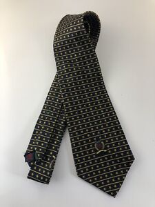Tommy Hilfiger Mens 100% Silk Tie, Made in USA, Black w/ Yellow Design+Insignia