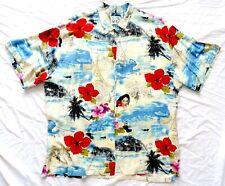 Vtg JAMS WORLD Rayon Hawaiian Shirt 2XL XXL Ocean Polynesian Woman w/ Flower