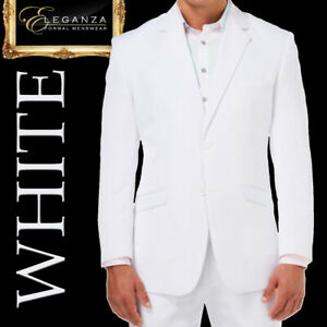 WHITE MENS SUIT MICROFIBER COSTUME WEDDING SCHOOL FORMAL MENSWEAR -Aus Seller-