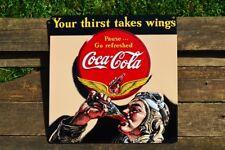 Coca-Cola Aviator Embossed Tin Metal Sign - Airplane  - Coke - Pilot - Retro