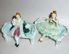 Vintage 1950's MIB 2 Japan Porcelain Colonial Seated Dresden Hpntd Figurines