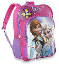 """Disney Frozen Elsa & Anna SISTERS FOREVER Olaf Large 16"""" School Backpack Bag"""