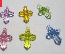 lot 20pcs croix acrylique charms breloque  baptême communion  bijoux.3x2cm