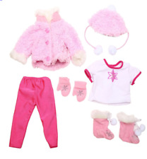 "Funrise Deluxe Glamour Doll Outfit Soft Pink White Jacket Gloves Fits 18"" Dolls"