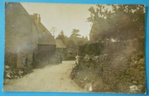 RP Postcard POSTED 1910 VILLAGE STREET SCENE LOWER GUITING GLOUCESTERSHIRE