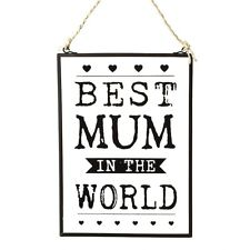 'Best Mum in The World' Glass Vintage Style Wall Hanging Sign Plaque