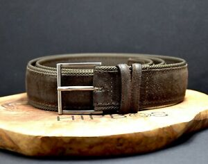Orciani Vintage Mens Suede Leather and Canvas Belt Brown Size 34