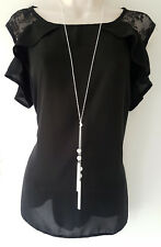"Stunning 30"" long silver tone knotted lariat chain diamante pendant necklace"