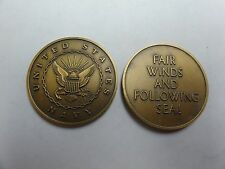 CHALLENGE COIN OLDER UNITED STATES NAVY FAIR WINDS AND FOLLOWING SEA