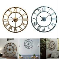 Oversized Big Metal Vintage Wall Clock Retro Wrought Iron Art Decorative Fast Hi