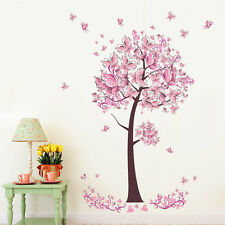 Pink Butterfly Tree Flowers Wall Sticker Vinyl Decal DIY Nursery Kids Room Decor