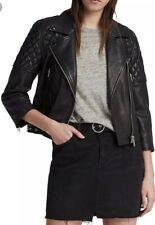 Bnwt Allsaints BEATTIE leather Biker Jacket.black.cropped Sleeves.uk 8