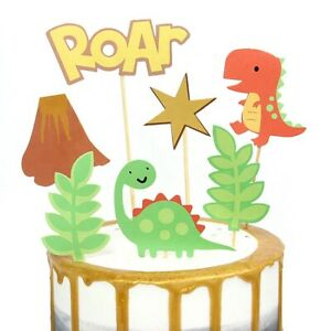 Dinosaur Cake Topper Jungle Themed 7 Piece Card Set Birthday Party Boys Kids