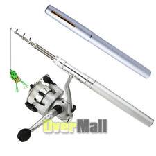 Mini Pocket Pen Shape Aluminum Alloy Fishing Rod Pole+Reel Line+Frog Lure Hooks