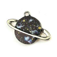 Planet Charms Black Enamel Pendant Pack of 10