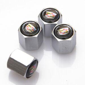 4Pcs For Cadillac Car Auto Wheel Tire Valve Stems Caps Dust Covers Logo
