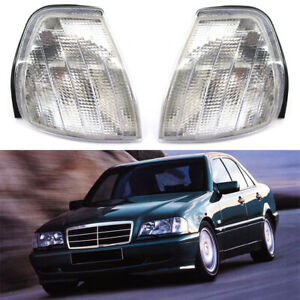 2x Clear Turn Signal Corner Lamp Lights For Mercedes Benz C Class W202 1994-2000