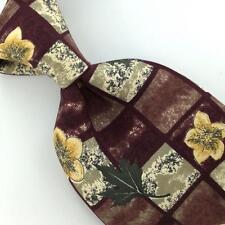 CAMBRIDGE CLASSICS FLORAL MAROON YELLOW Silk Men Necktie I1-606 Excellent Ties