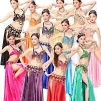 AU Belly Dance Costume Indian Outfit Bollywood Set Bra Belt Skirt Carnival dress