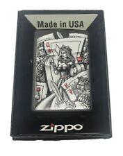 Zippo Custom Lighter Vintage Windy Lady Flame Fusion Design High Polish Brass