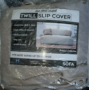 """BRENNA COLLECTION Stretch Twill Sofa Slipcover  Fits Most Sofas to 90"""" Grey"""
