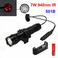 501B 940nm Infrared Red IR Night Vision LED Flashlight Torch Gun Light + Battery