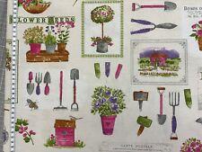 Canvas - Garten - Utensilien - Gießkanne - Spaten - pink/lila/creme -Dekostoff