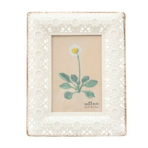 """Sass & Belle White Floral Metal Picture Frame - fits 6""""x4"""" photo"""