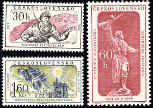 EBS Czechoslovakia 1959 - Slovak National Uprising - Michel 1149-1151 MNH**