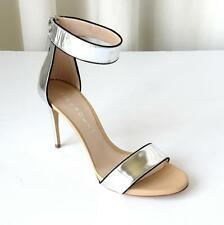 CASADEI Womens Silver Leather Ankle-Strap High-Heel Sandal Pump 8.5 NEW $790